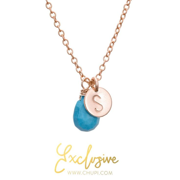 Chupi Rose Gold Initial Necklace with One Disc & Turquoise Howlite Birthstone
