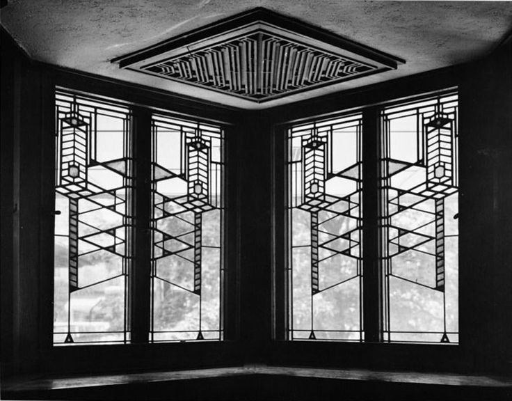 Robie House in Chicago by Frank Lloyd Wright -- stained glass doesn't get much better than this (even in a b&w photo)