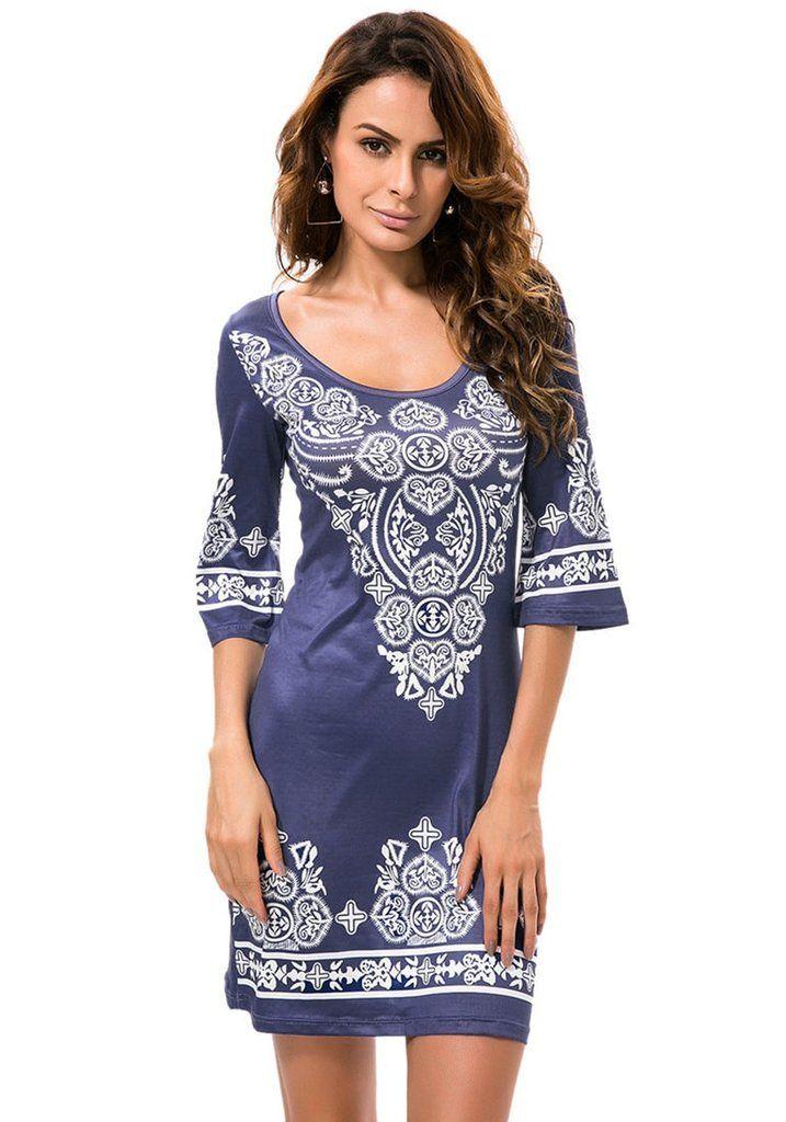 Navy Paisley Print Dress – Lookbook Store