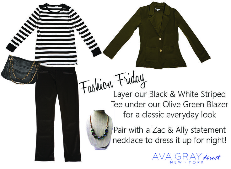 Layering our olive blazer over our black and white stripped tee is the perfect color combo -- classic but edgy  #AvaGrayDirect #FashionTips #StyleGuide #ootd