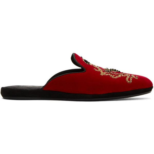 Dolce and Gabbana Red Embroidered Velvet Slippers ($1,990) ❤ liked on Polyvore featuring men's fashion, men's shoes, men's slippers, red, mens embroidered shoes, dolce gabbana mens shoes, mens slipon shoes, mens slip on slippers and mens velvet shoes