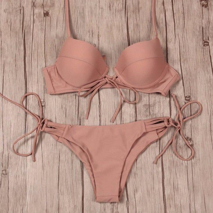 MALIA Beige Nude Bikini Top 34C & Bottom Small S Swim Suit Set NEW Victoria #Malia #Bikini