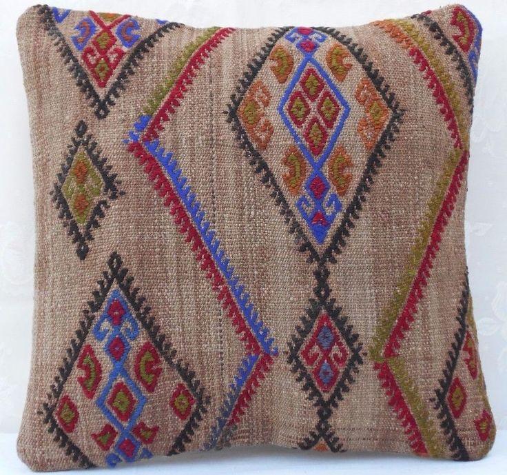 16''x16'' Burlap Kilim Pillow Cover ,Natural Camel Wool Color  Antique Grainsack #Handmade