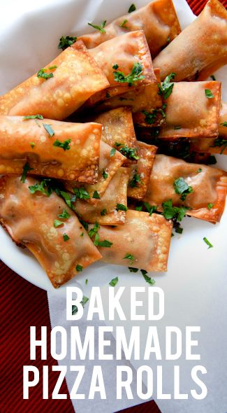 Baked Homemade Pizza Rolls *Olive oil *Garlic *Green pepper *Onion *Marinara sauce *Shredded mozzarella cheese *Wonton wrappers