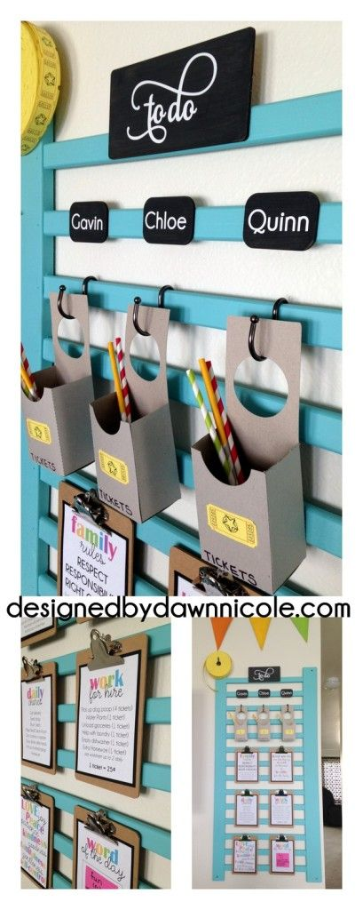 I LOVE this idea for repurposing an old crib rail into a chore chart and behavior system! Talk about creative organization!