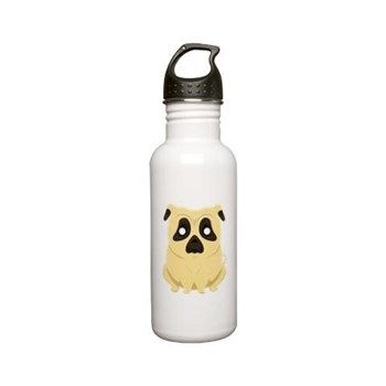 Chubby Pug Stainless Water Bottle 0.6l from cafepress store: AG Painted Brush T-Shirts. #pug #waterbottle #dog