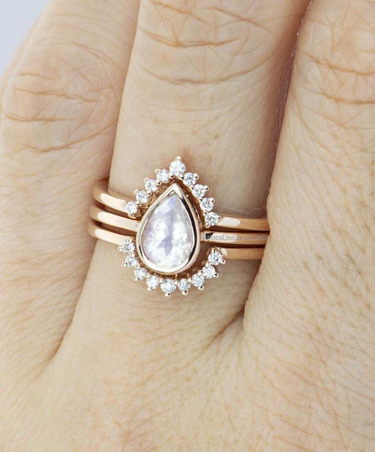 Pear Shape Rainbow Moonstone 14K Gold Engagement Ring Set with Two Diamond Nesting Wedding AD1587