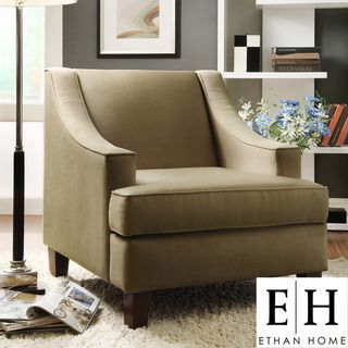 @Overstock - The simple, sleek lines of this Winslow cherry chair will add a classic look to any decor. High backed with low profile arms, microfiber upholstery, and cherry-stained legs, this chair will fit well in a traditional or contemporary room.http://www.overstock.com/Home-Garden/ETHAN-HOME-Winslow-Cherry-Finish-Taupe-Brown-Chair/6223600/product.html?CID=214117 $329.99