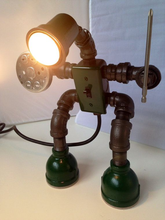 How cool is this!! Cyclops Eco an industrial robot lamp by ICHomeDesigns on Etsy, $329.00