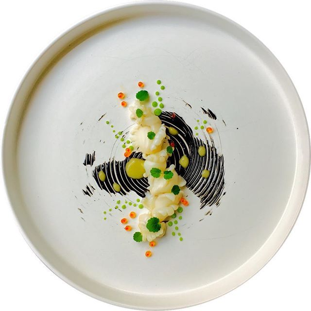 Cuttlefish, peas, lemon, salmon roe, ink, atsina cress