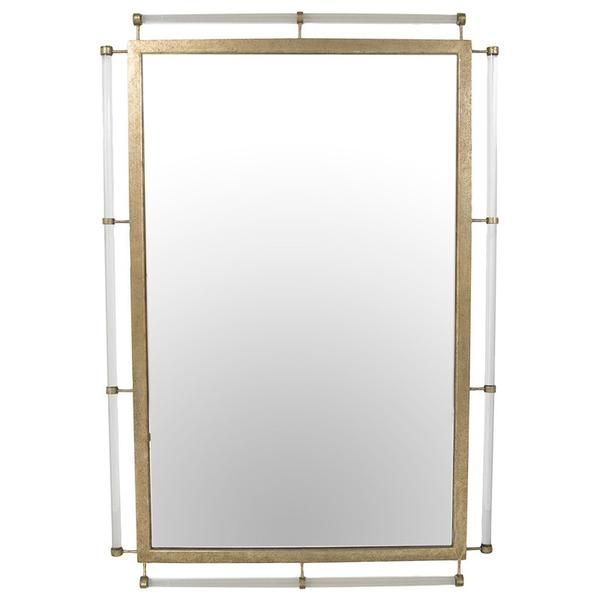 This show stopping mirror is surrounded by a champagne silver frame and enhanced by Lucite rods that reflect the walls behind it. EMAIL FOR AVAILABILITY.