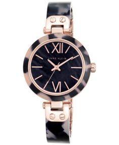 Anne Klein Women's Navy Tortoise Bangle Bracelet Watch 34mm 10-9652RGNV | macys.com
