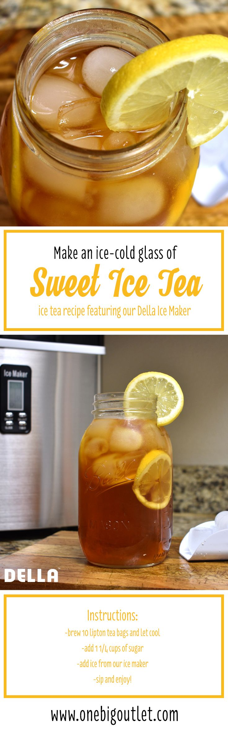 Sweet Ice Tea Recipe Using our DELLA Electric Ice Maker Machine Counter Top / Timer & Clock Function / 3 Cube Sizes - 35lb/24hr!