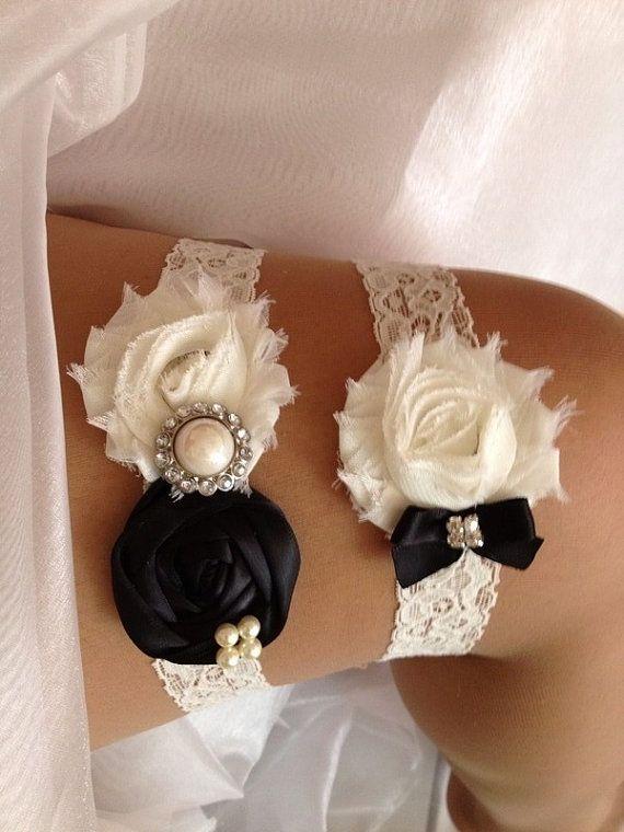Black Wedding Garter Set And Ivory Rhinestone Detail On