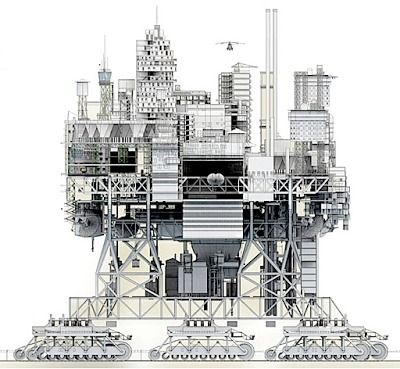 """A Walking City for the 21st Century -- When jobs and resources start to decline, modern cities, such as Detroit, suffer difficult and often wasteful processes of urban contraction. In contrast to this, Manuel Dominguez's """"Very Large Structure,"""" the result of his thesis project at ETSA Madrid, proposes a nomadic city that can move on caterpillar tracks to locations where work and resources are abundant. ..."""
