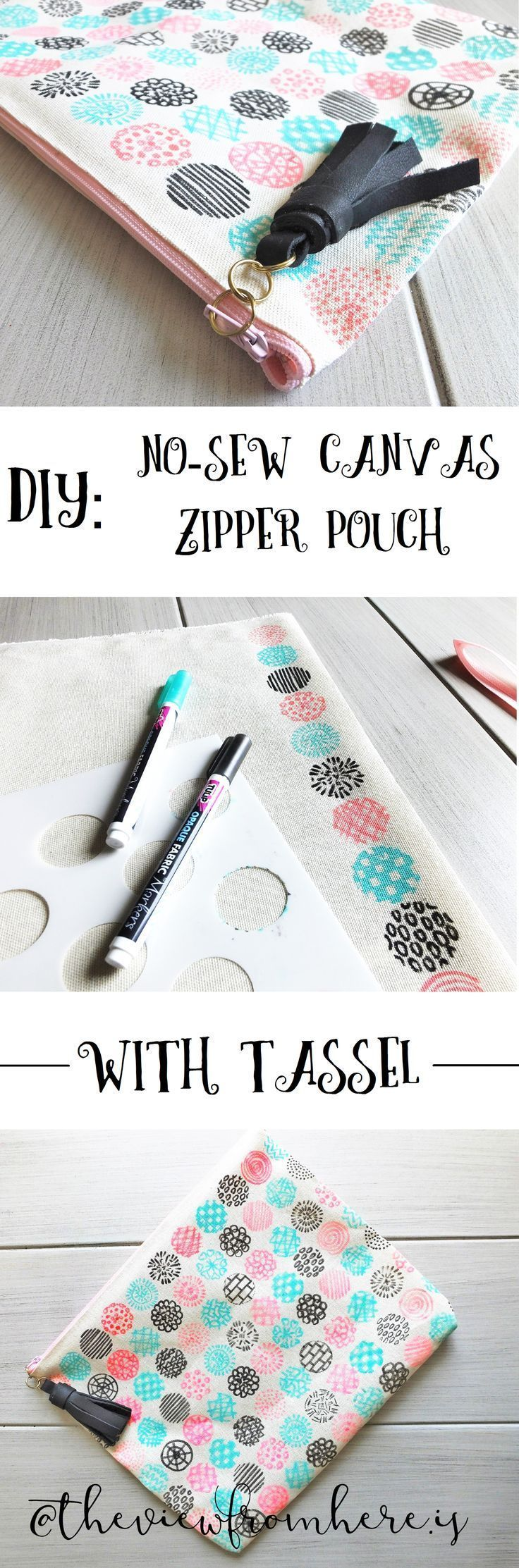 DIY: No-Sew Canvas Zipper Pouch with Tassel || http://theviewfromhere.is