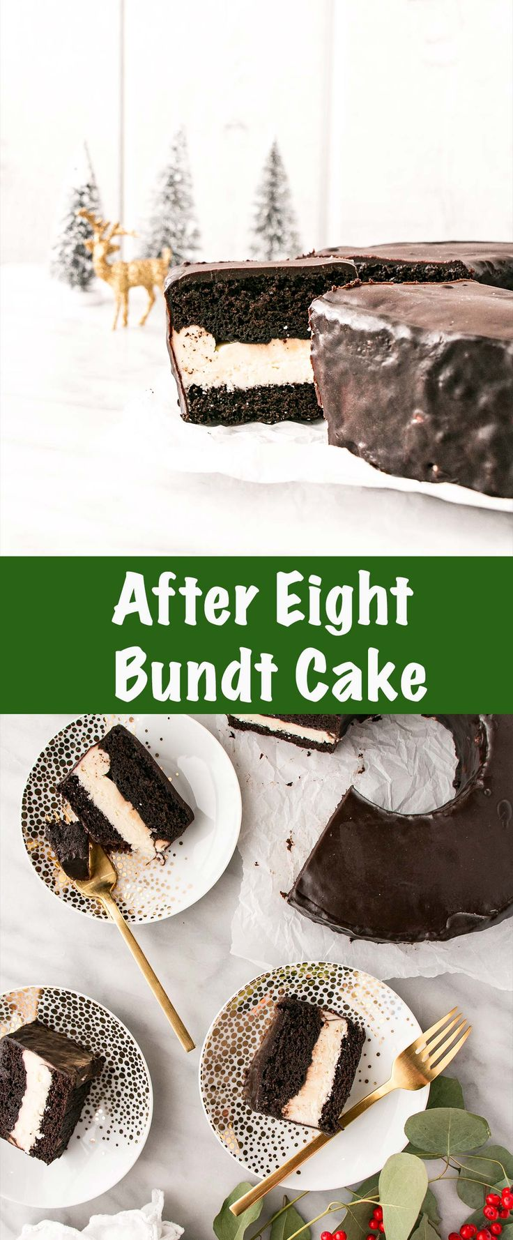 This After Eight Bundt Cake is a holiday classic filled with dark chocolate cake, creamy peppermint buttercream, and covered in a dark chocolate glaze. #cake #christmas #aftereight