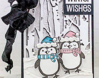 Tarjeta de deseos de invierno de pingüino
