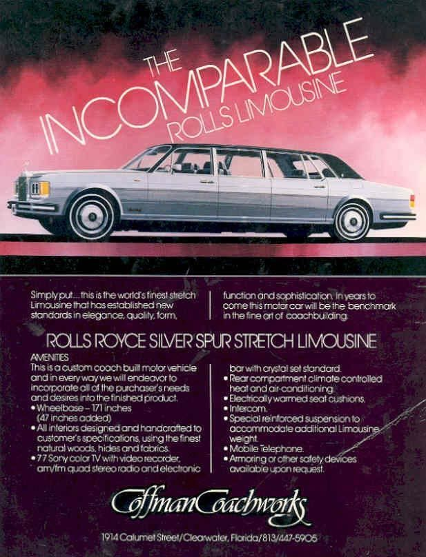1983 Rolls Royce Silver Spur Stretch Limousine by Coffman Coachworks Brochure