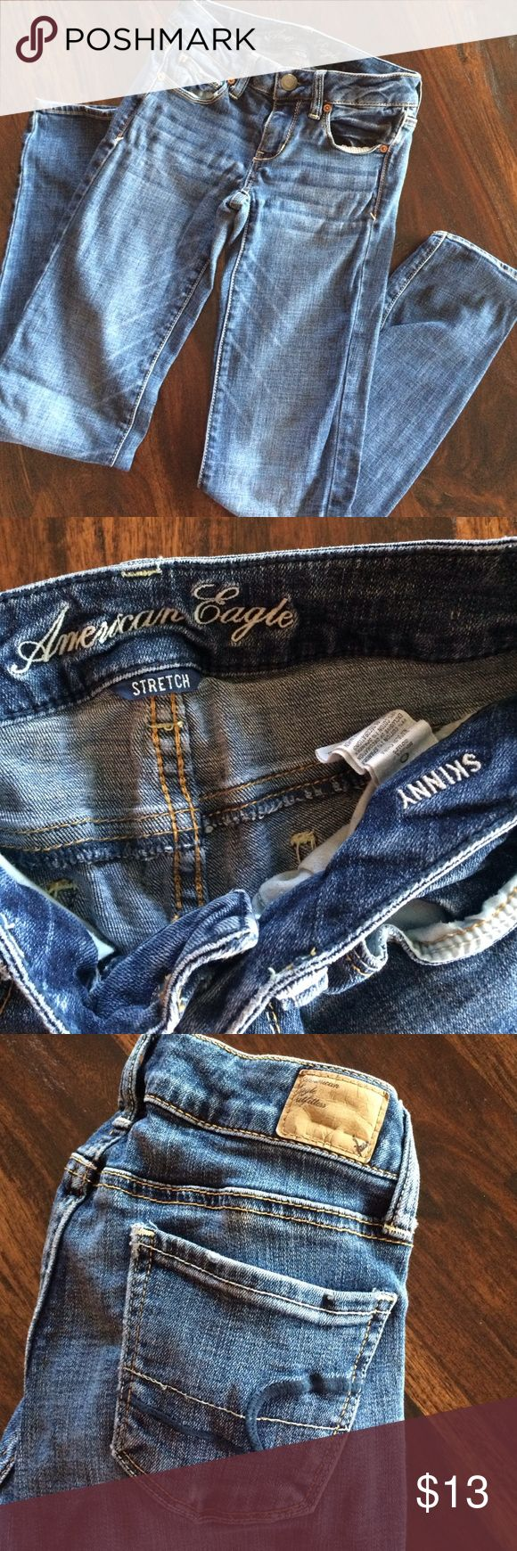 American Eagle Jeans American Eagles jeans - skinny size 0 short. EUC - always hung them to dry. American Eagle Outfitters Jeans Skinny