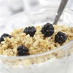 An ideal, nutritious, balanced breakfast contains complex carbohydrates and protein. Think grains, plus dairy, plus fruits. Here are a few examples: