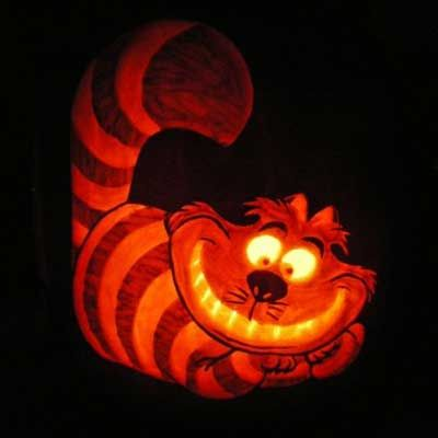 the Cheshire Cat from Disney's Alice in Wonderland carved into a pumpkin