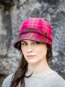 Flapper Cap Pink Check 223A One Size