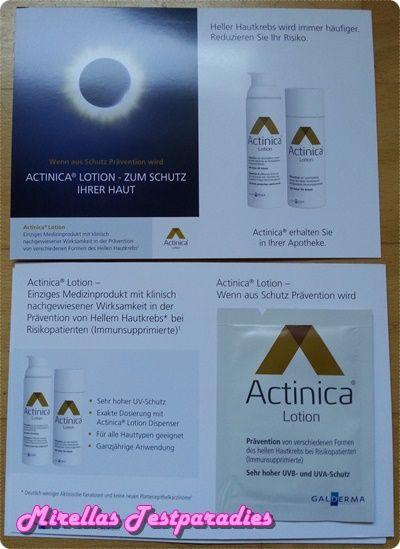 Gratis Proben Actinica Lotion, zur Vorbeugung von hellem Hautkrebs.