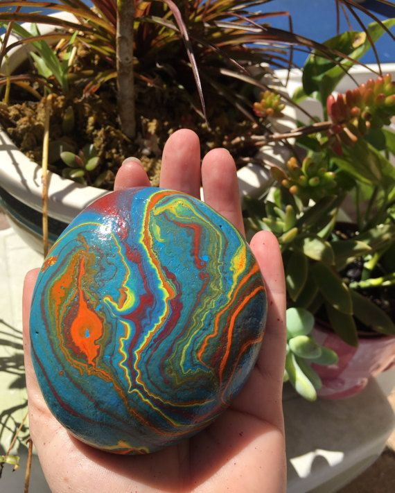 Mutli color-70's inspired Hydro Painted by RocksGaloreGallery