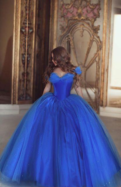 Azul real vestido De bola De princesa quinceañera Vestidos novia piso longitud Sweet 16 Vestidos Vestidos De quinceañeras 2015