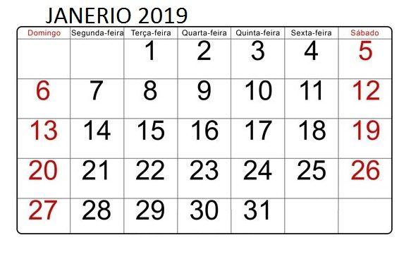 Calendario 2019 Janeiro Com Imagens Calendario De Janeiro