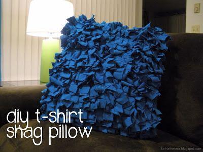 kai ta hetera: diy throw pillows, part 2: the t-shirt shag pillow