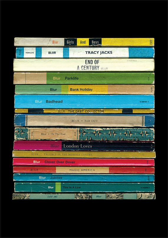 Blur 'Parklife' Album As Books Poster Print door StandardDesigns