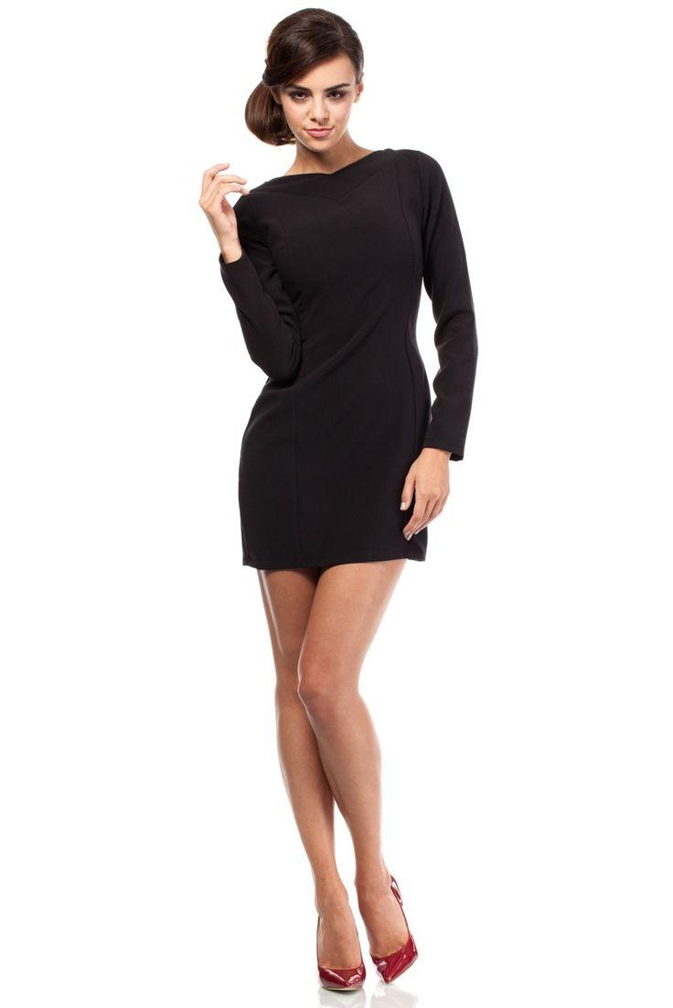 """Hladké dámske elegantné šaty s dlhým štýlovým rukávom v úzkej línii krásne vytvarujú tvoju siluetu. Pohľad na ženu v týchto šatách spôsobí miernu šokovú terapiu, výstrih na chrbte je príjemným spestrením celého modelu. Dámy, ak chcete """"lámať"""" mužom krky, v týchto šatách to bude viac než isté:-)) Zapínanie šiat je na boku na skrytý zips.  Dodanie cca 5 - 10 pracovných dní."""
