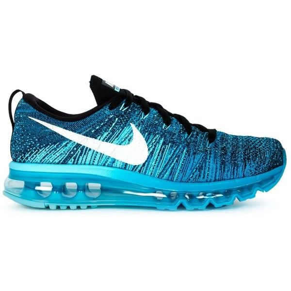 Nike Womens Nike Flyknit Max Sneakers (1.260 VEF) ❤ liked on Polyvore featuring shoes, sneakers, blue, nike, blue sneakers, round toe shoes, lace up sneakers, woven shoes and laced shoes