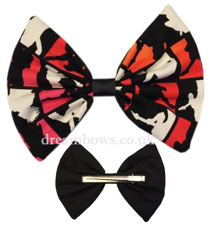 Large funky novelty fabric hair bow on alligator clip - www.dreambows.co.uk girls large hair bows for sale, hair bows for girls, girls big bows, bows for girls, large fabric hair bows, large hair bows uk