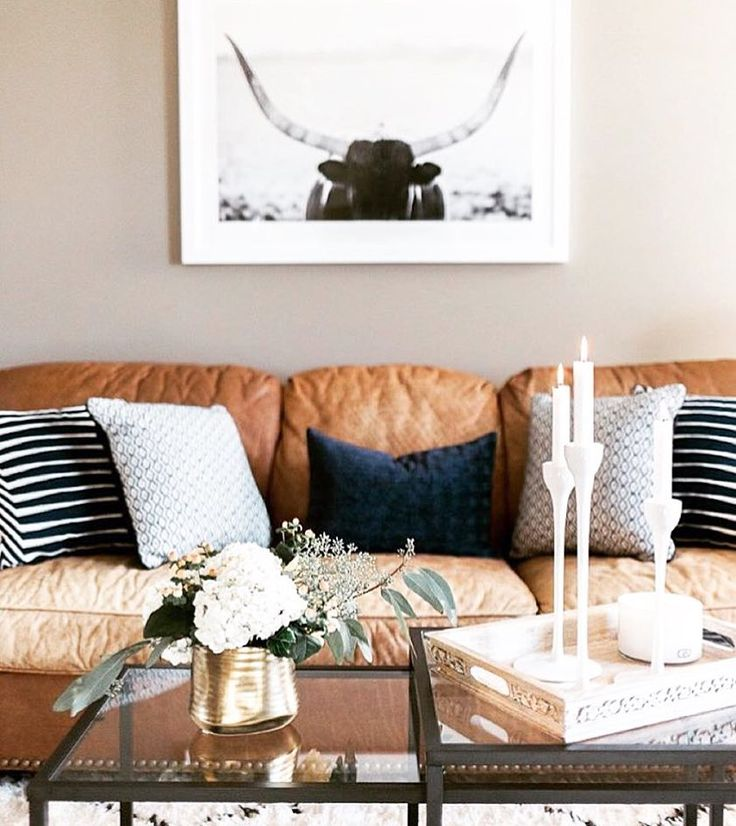 Especially The Couch We Want To Move In Paired A Masculine Leather With Cozy Patterned Pillows From Marshalls For Chic And Inviting Living Room