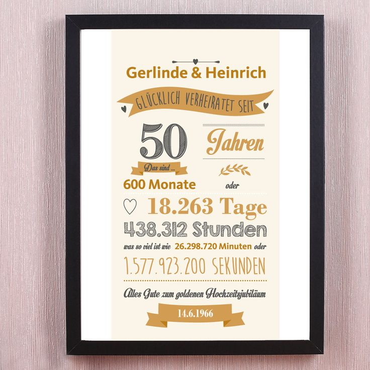 14 best geschenke zur goldenen hochzeit images on pinterest 50th wedding anniversary diy. Black Bedroom Furniture Sets. Home Design Ideas