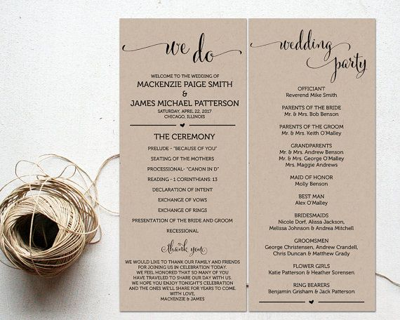 Ceremony Programs Wedding Program Template by AModernSoiree