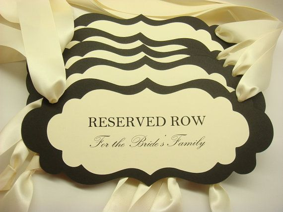 Reserved Wedding Ceremony Seating Signs To Reserve For The Bride And Grooms Family During