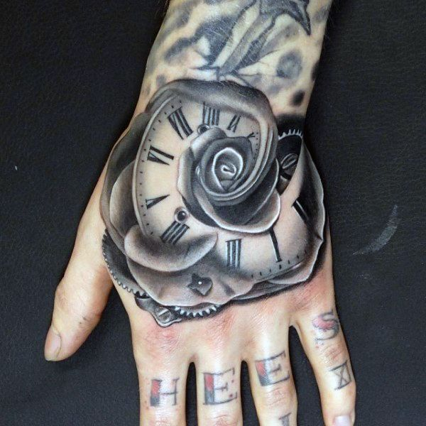 Cool Iron Grey Tattoo Of Rose And Clock Tattoo Male Hands Tattoo
