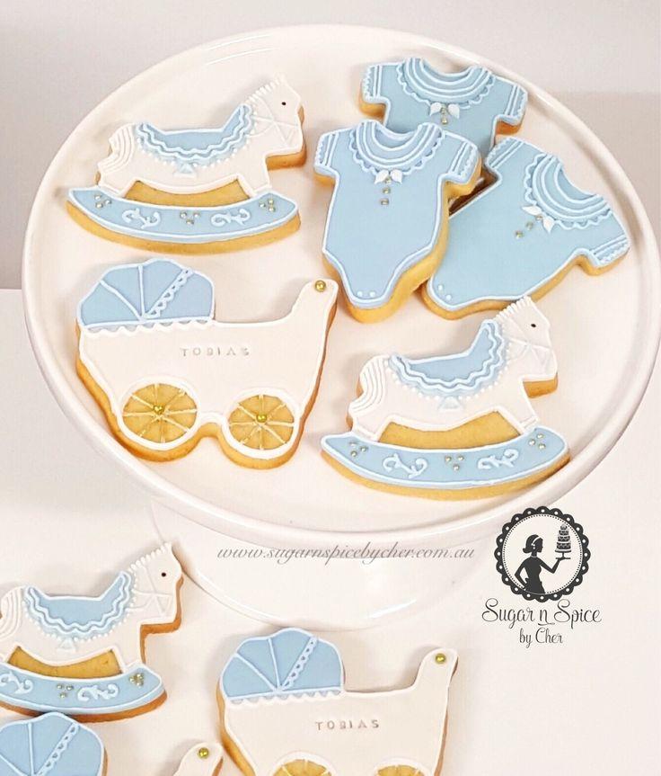 Baby Shower cookies - pram, rocking horse, romper #sugarnspicebycher