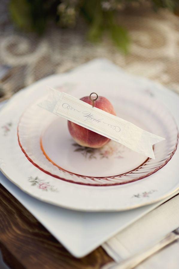 peach place card ideas.  las vegas vintage rentals, nostalgia resources.  http://nostalgiaresources.com #vintage #rentals #lasvegas