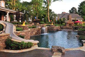 beautiful!Backyards Fire Pit, Dreams Backyards, Backyards Oasis, Dreams House, Backyards Ideas, Water Sliding, Nature Pools, Dreams Pools, Pools Design