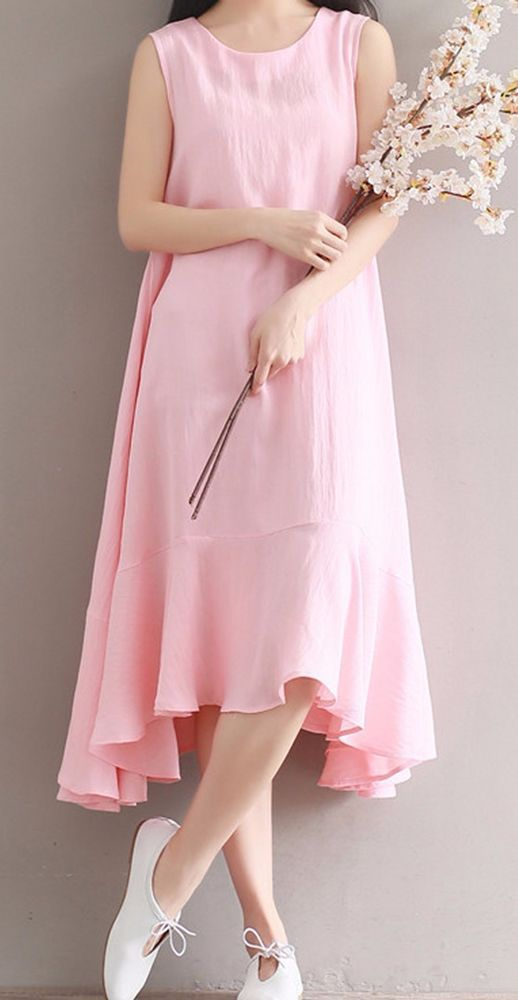 Women loose fitting over plus size baby pink linen dress long maxi tunic chic #Unbranded #dress #Casual