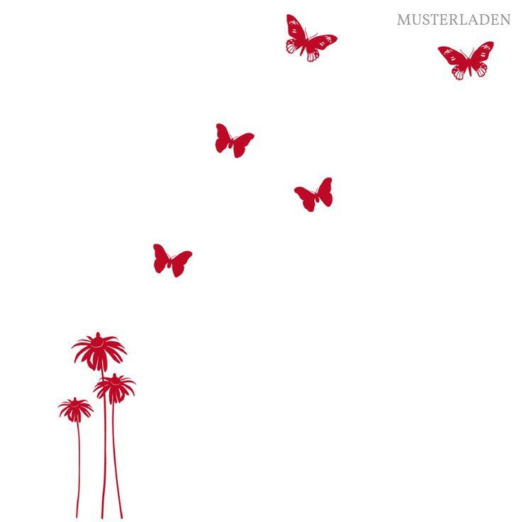 Wandtattoo Blume Magdalena und 5 SchmetterlingeDas Motiv ist auf einem etwa Din A4-großen Bogen und es setzt sich so zusammen:Blumen:- die beiden großen, zusammenhängenden sind 10 x 28,5 cm- die kleine, einzelne Blume hat eine Größe von 5,5 x 18 cmSchmetterlinge:- 3 Schmetterlinge, 6 cm groß und- 2 gegliederte Schmetterlinge, 8,5 cm großIn der Auswahlbox unten können Sie die gewünschte Farbe für Ihr Wandtattoo auswählen.Die Lieferung beinhaltet eine Klebeanle...