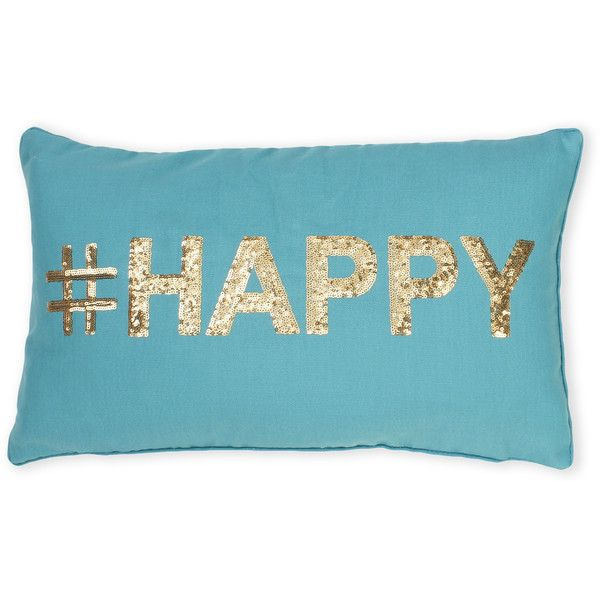 Thro #Happy Pillow ($20) ❤ liked on Polyvore featuring home, home decor, throw pillows, metallic, metallic throw pillows, woven throw pillows and metallic home decor