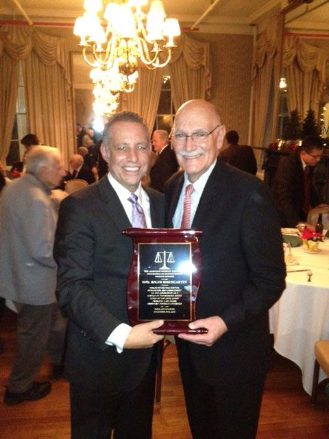 Justice Roger Rosengarten Presented Award by Queens Attorney, Todd Greenberg, President of Queens Assistant District Attorney's Association on December 5th, 2013
