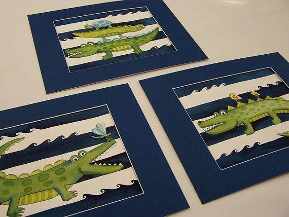 Alligator gator wall art prints kids boys by theprincessandpea, $35.00