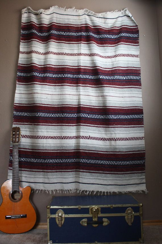 Vintage 1980s / 1990s Southwestern Aztec / Tribal Print Mexican Blanket Red White Black Bedding Urban Outfitters Home Decor Hipster Hippie Tumblr Bedroom Hipster Bedroom Teenager Bedroom